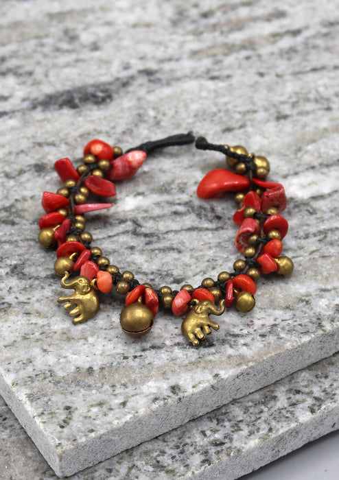 Elephant Charm Stone Beaded Baby's Anklet - nepacrafts
