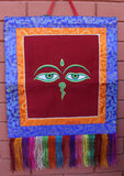 Buddha Eyes Embroidery Brocade Framed Wall Hanging