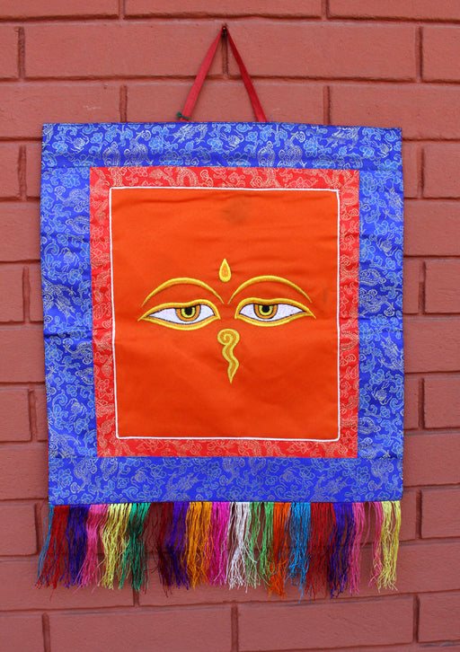Buddha Eyes Embroidery Brocade Framed Wall Hanging - nepacrafts