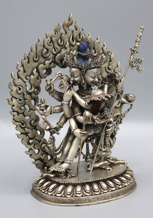 "Stunning Hand Carved Silver Sterling Chakrasamvara Statue 6.5"" High - nepacrafts"