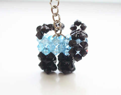 Sky Blue and Black Small Puppy Clear Resin Crystal Key Chain