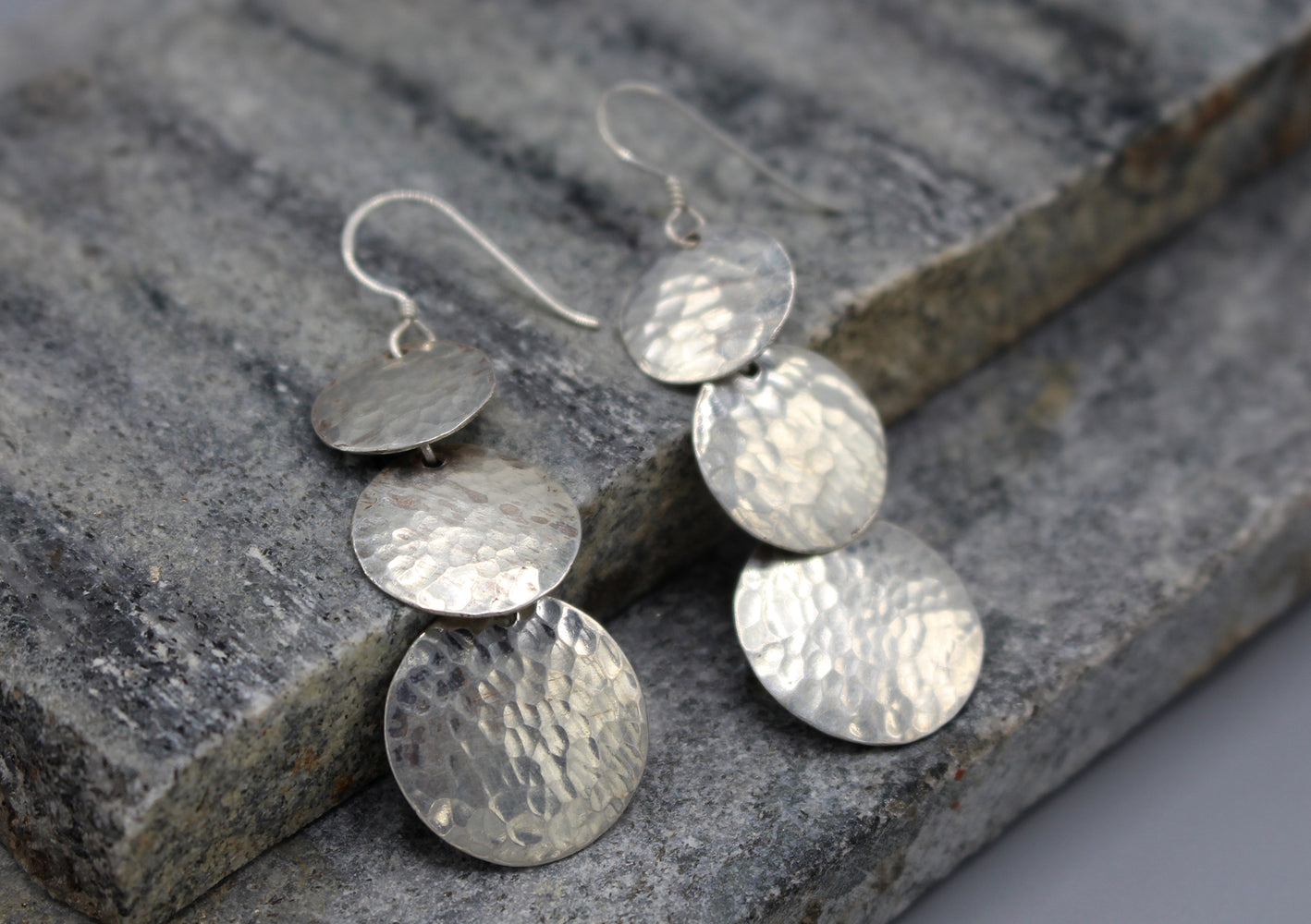 Three Step Sterling Silver Dangle Earrings - nepacrafts