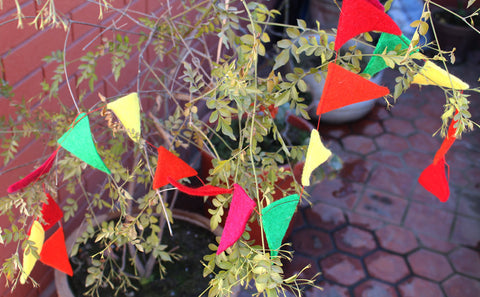 Decorative Triangular Felt Prayer Flags