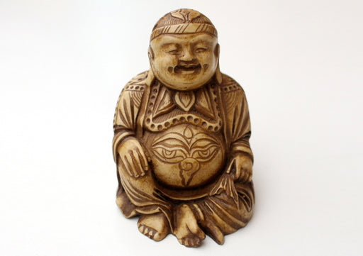 "Seated Laughing Buddha Resin Statue 4"" - nepacrafts"
