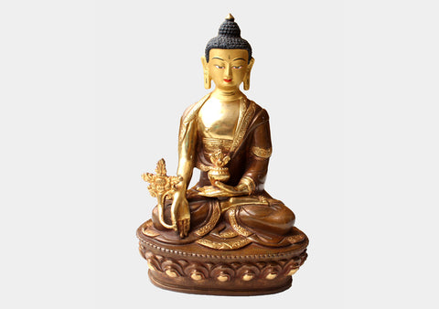 "Gold Plated 8"" Medicine Buddha Statue"