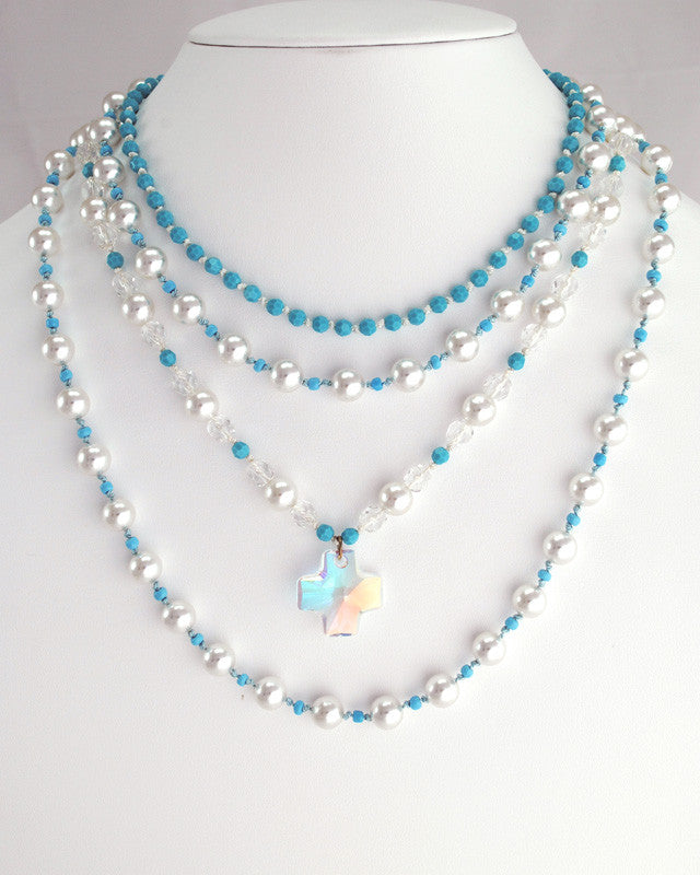 Turquoise & Pearl Necklace Set