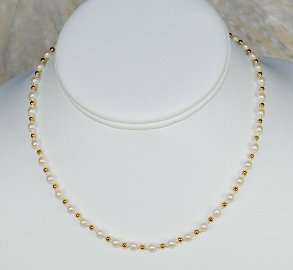 Pearl & Gold Choker Necklace