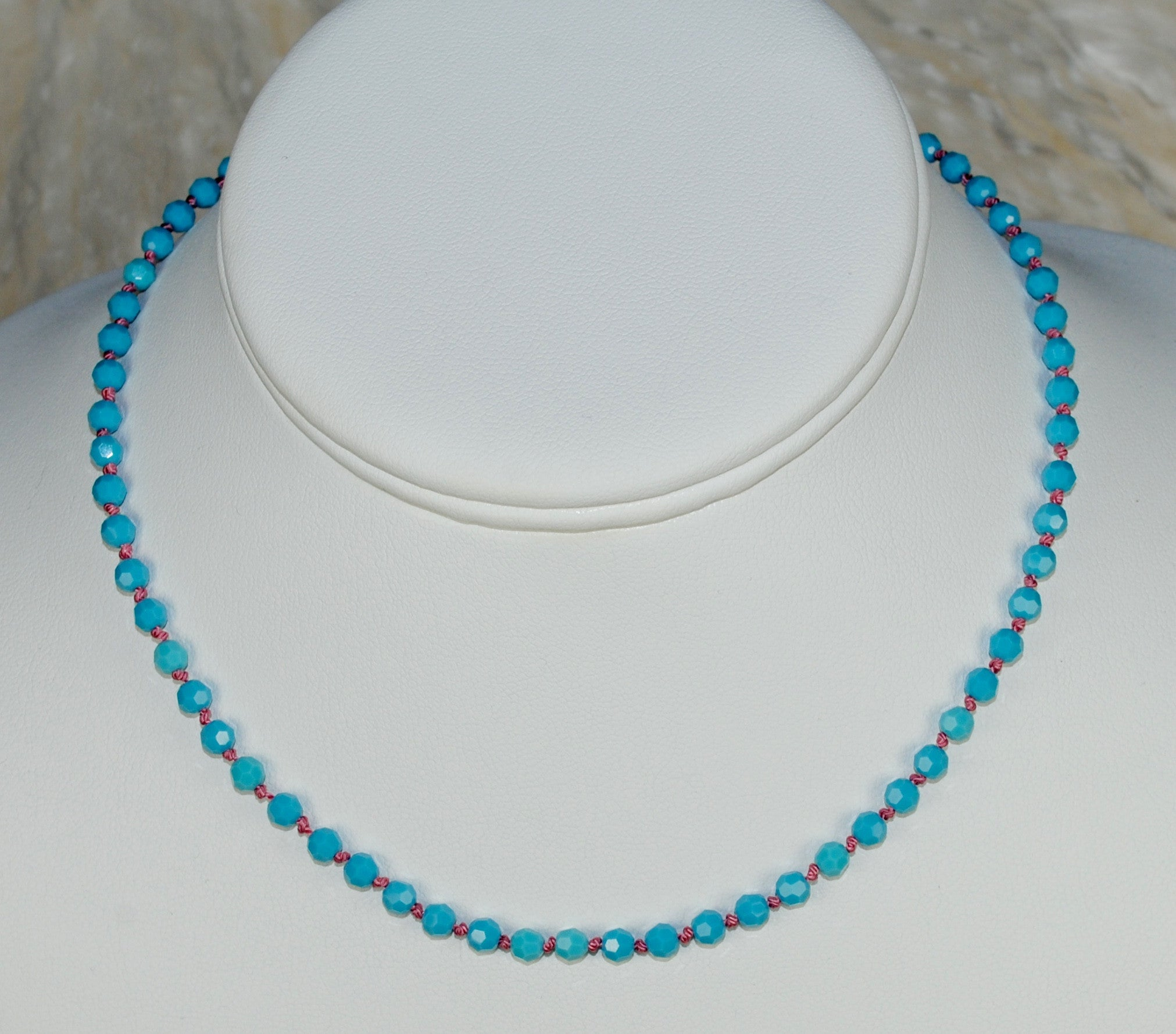 Turquoise Choker Necklace on Choice of Silk