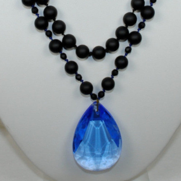 Black & Blue Necklace w/ Chandelier Drop