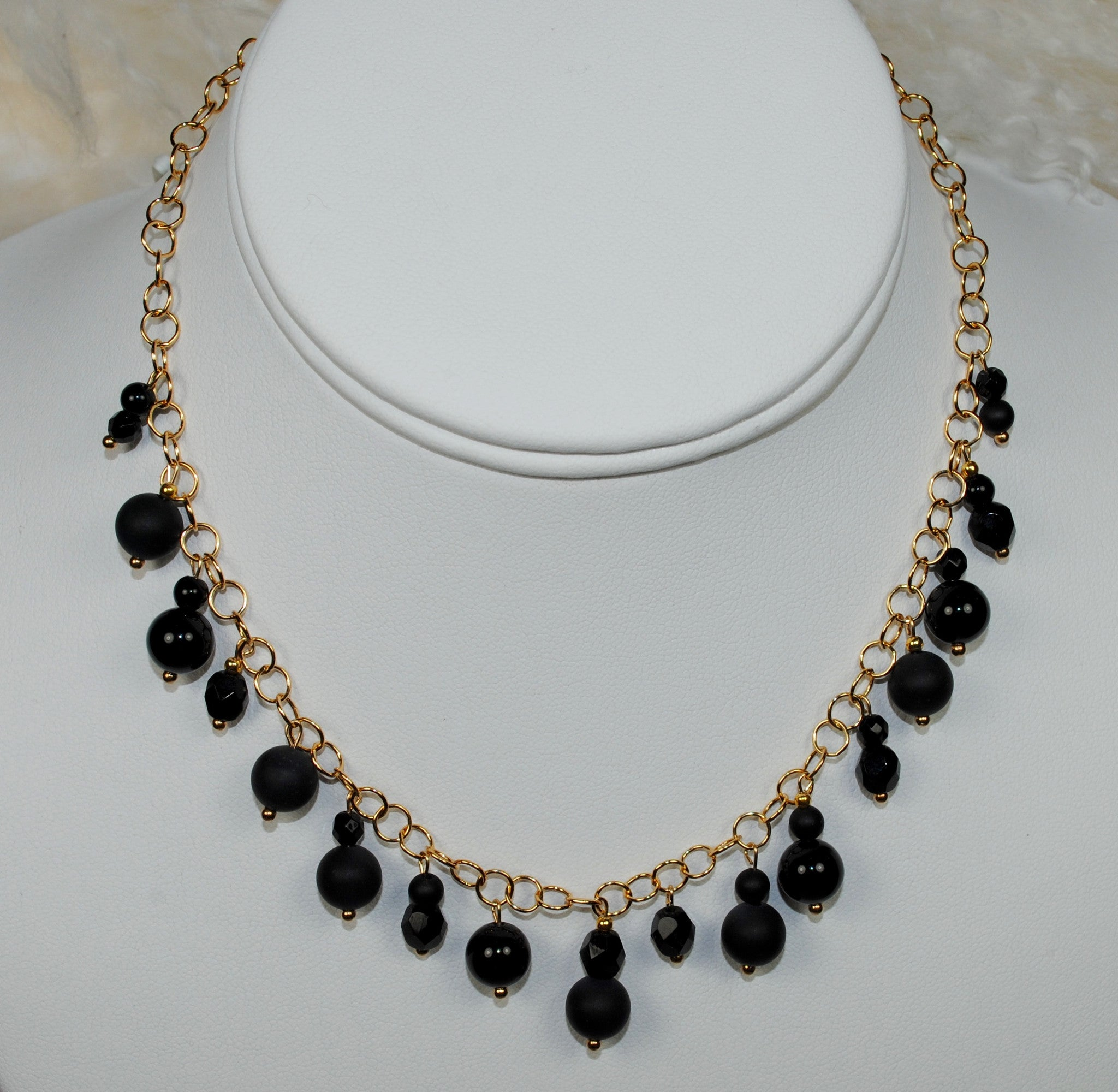 Gold Chain Necklace w/ Black Drops