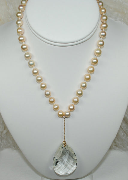 Peach Pearl Necklace w/ Chandelier Drop