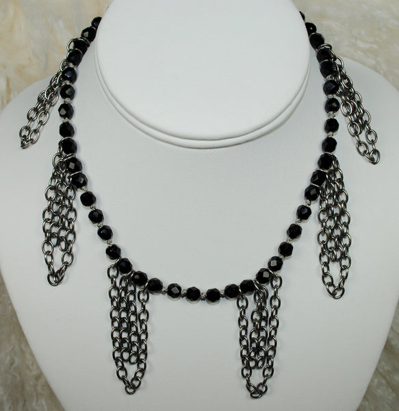 Black Necklace w/ Silver Chain