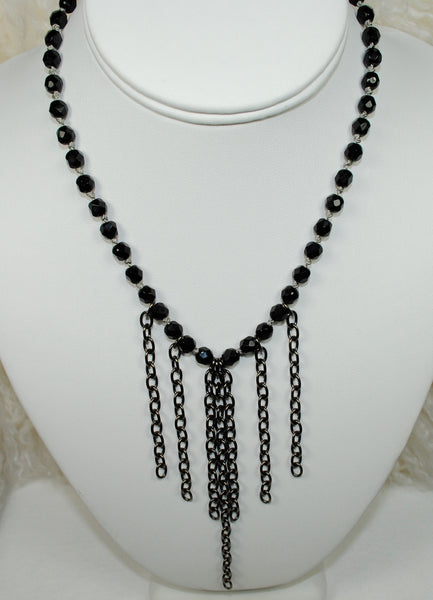 Black Necklace w/ Oxidized Chain
