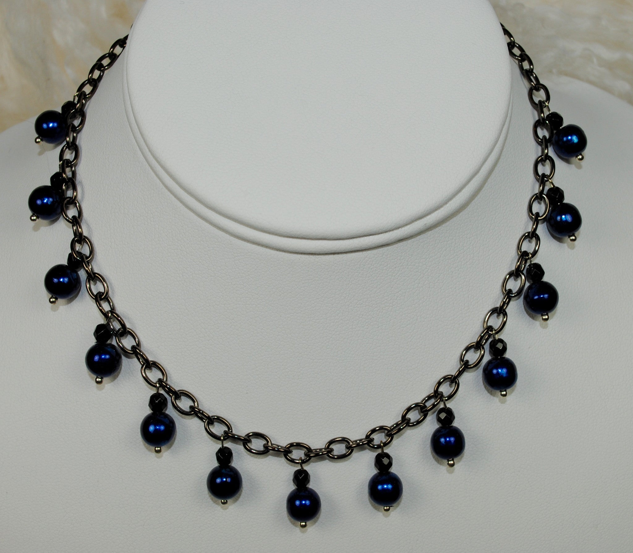 Navy Bead Necklace on Oxidized Chain