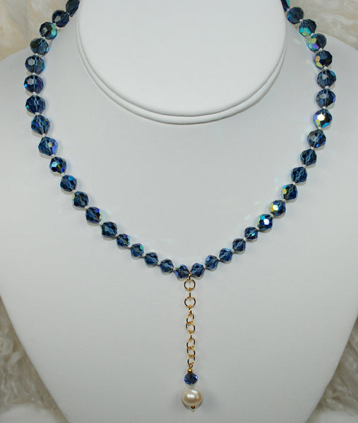 Vintage Blue Necklace w/ Pearl Drop