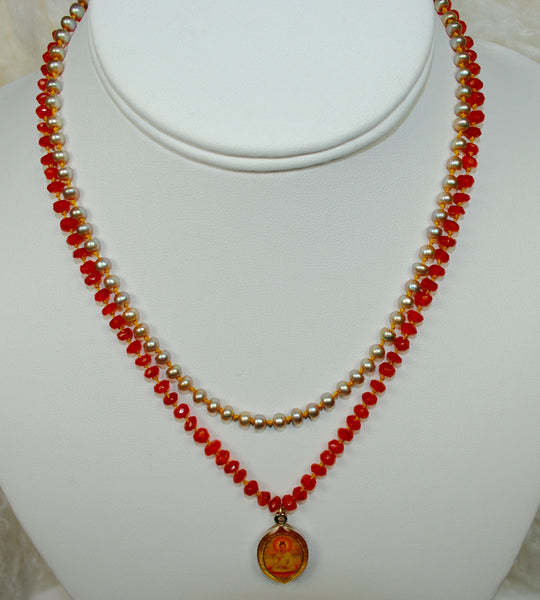 Red & Orange Pendant Necklace