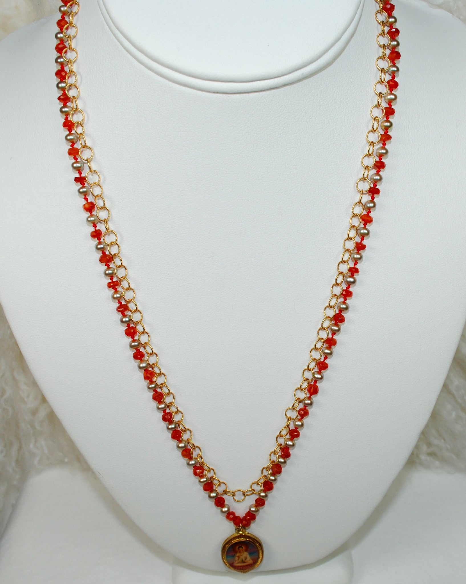 Double Strand Pendant Necklace w/ Gold Chain