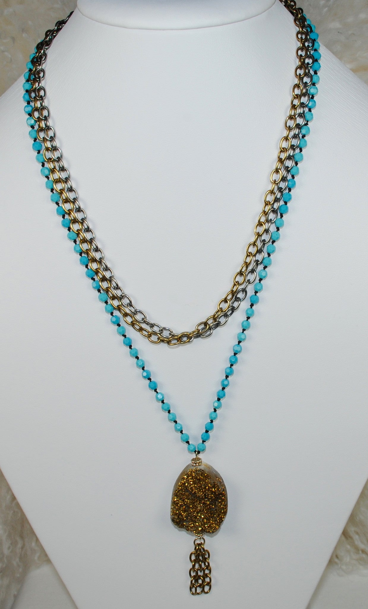 Turquoise, Silver and Gold Pendant Necklace Set