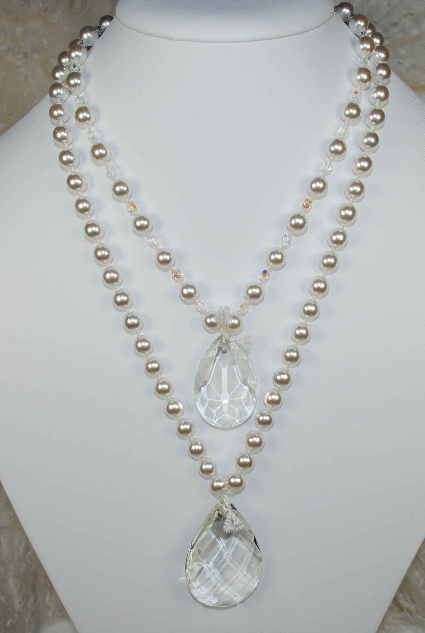 Double Strand Pearl Necklace w/ Chandelier Drops