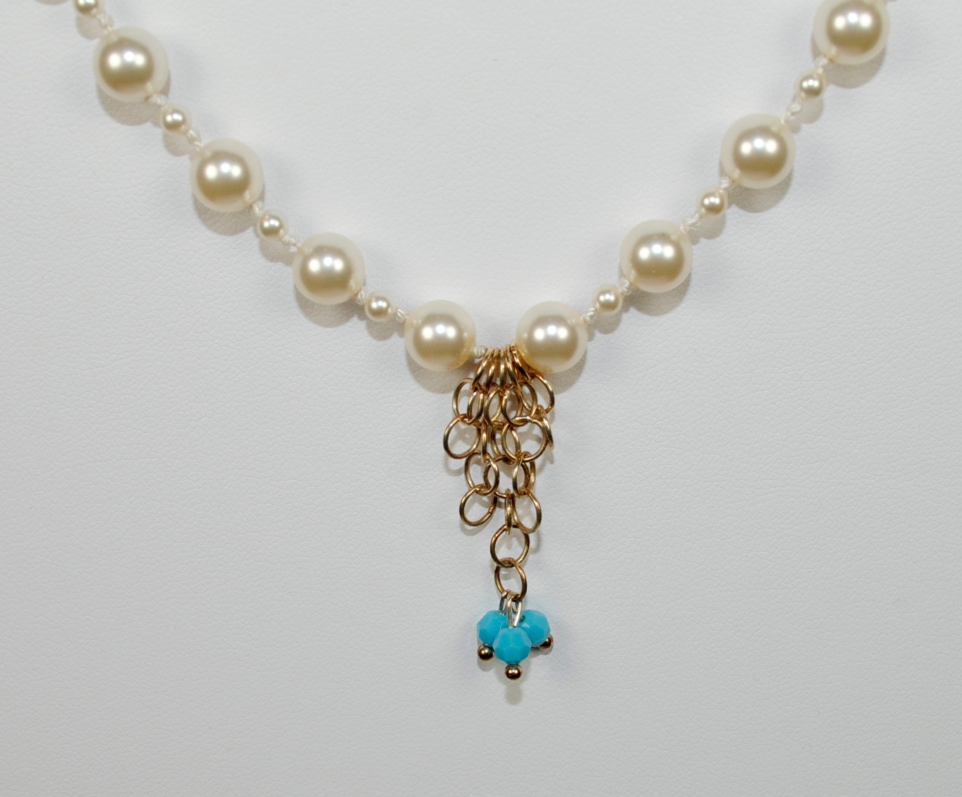 Double Strand Pearl Necklace w/ Turquoise Drop