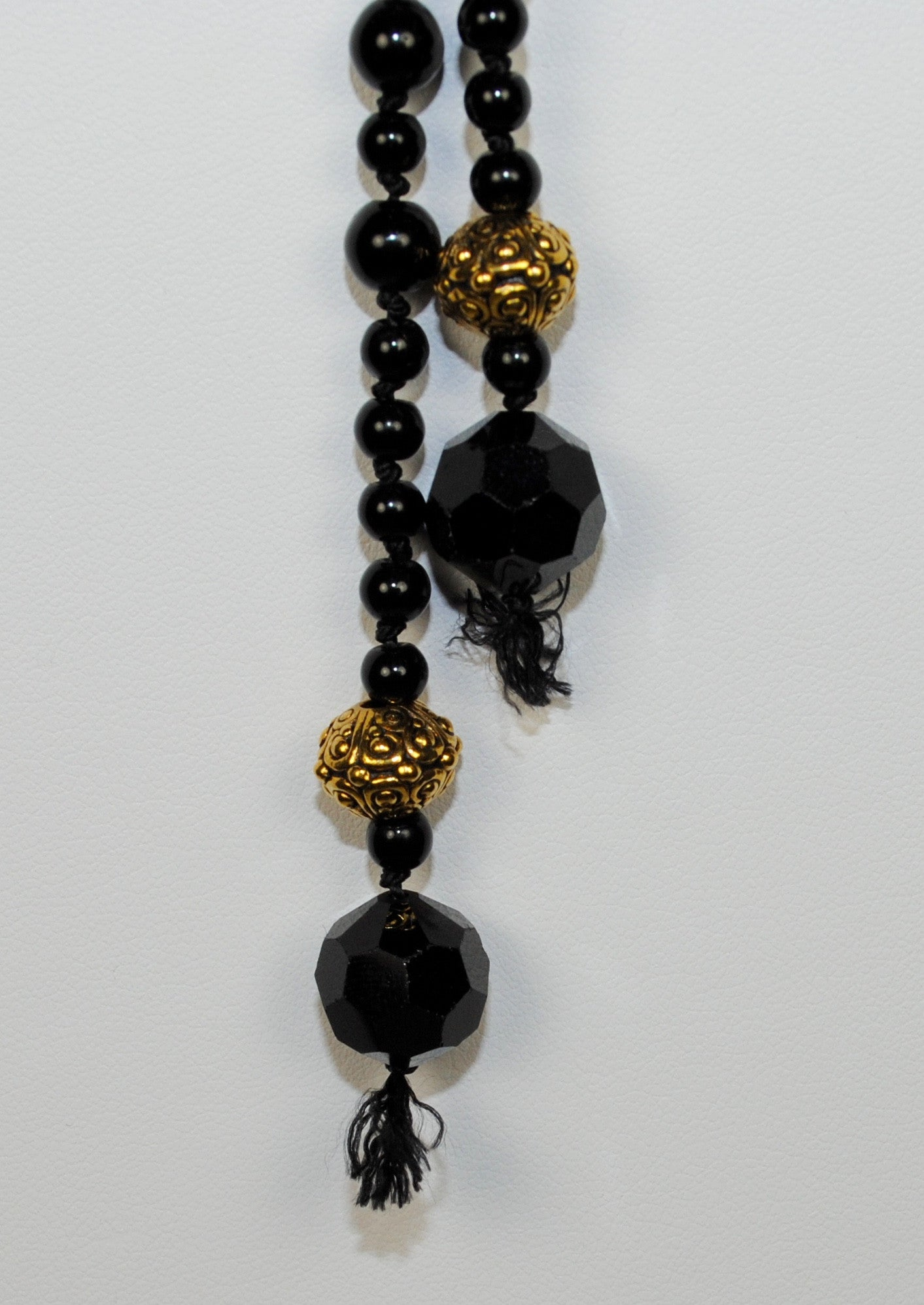 Black and Gold Lariat Necklace