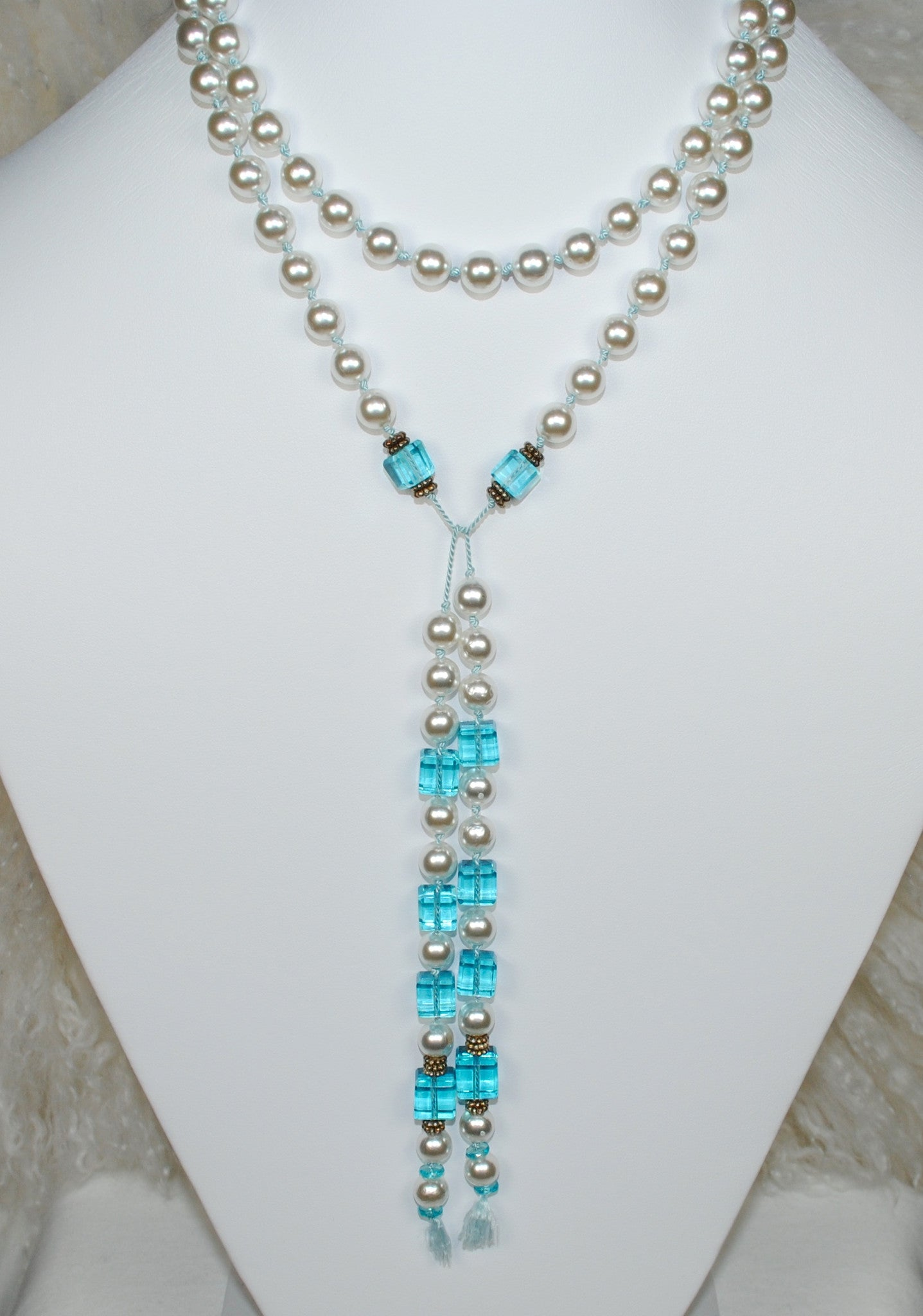 Pearl Lariat Necklace w/ Blue Beads