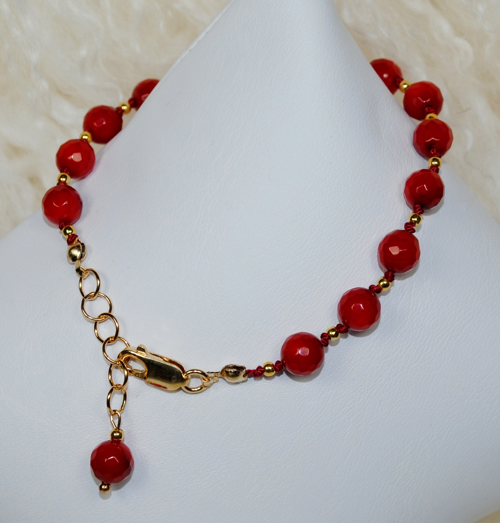 Red & Gold 'Giving Back' Bracelet - Large Bead
