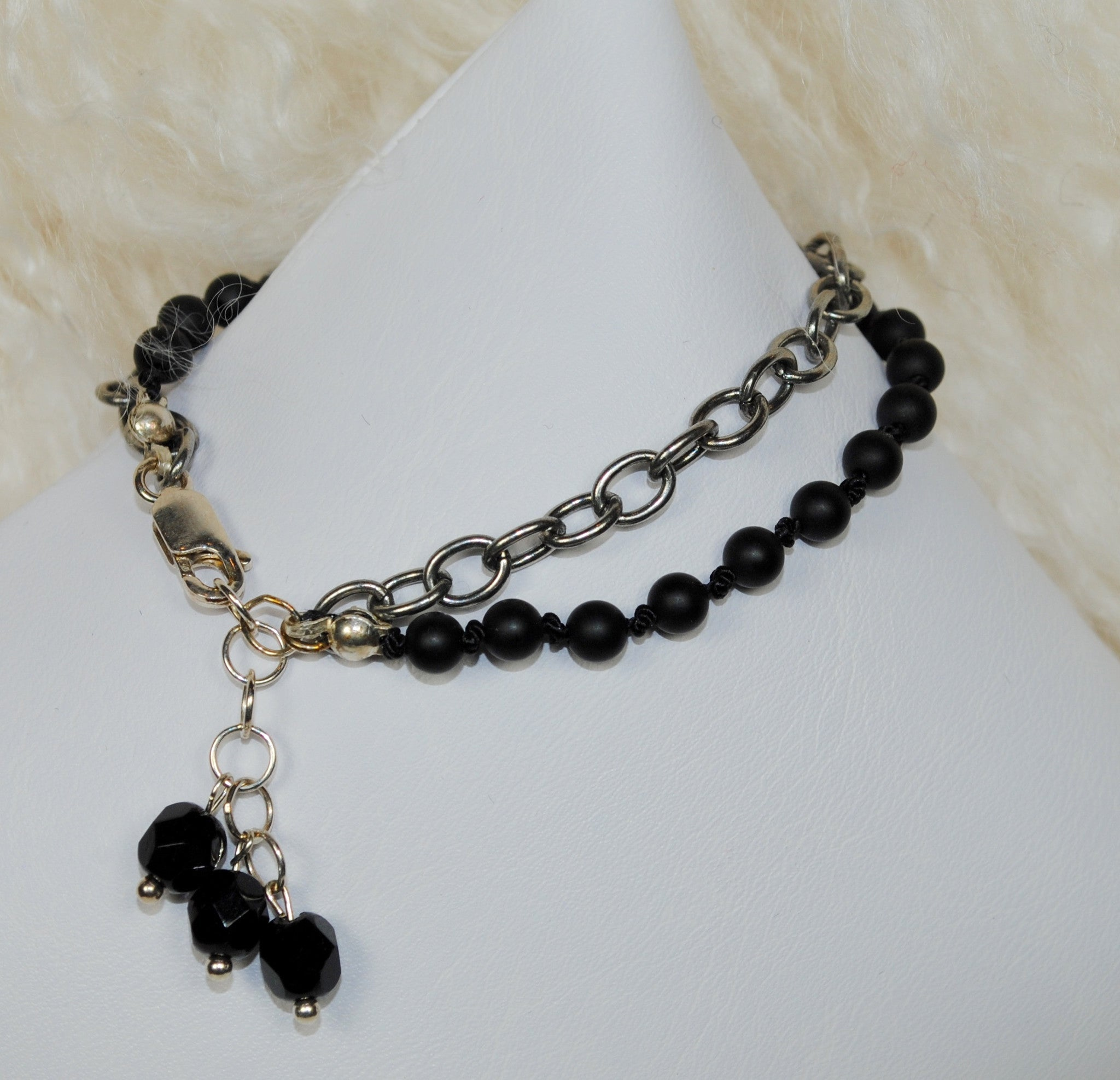 Double Strand Chain & Black Bracelet