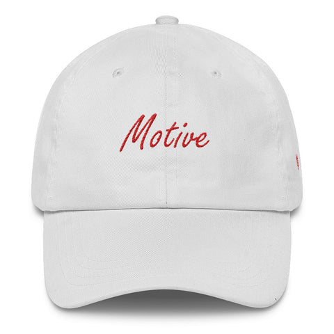 Motive White Classic Dad Cap (Red Stitch)