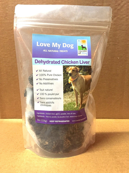 Love My Dog Raw Diet - Dehydrated Chicken Liver With Garlic – 1/2lb