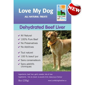 Love My Dog Raw Diet - Dehydrated Beef Liver w/ Garlic 1/2lb
