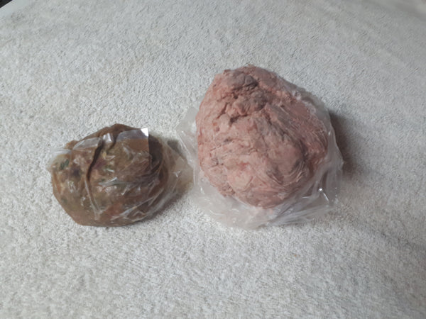 Raw diet for dogs. Small dogs duck premix with 1/2 veggie puck 1.5lb