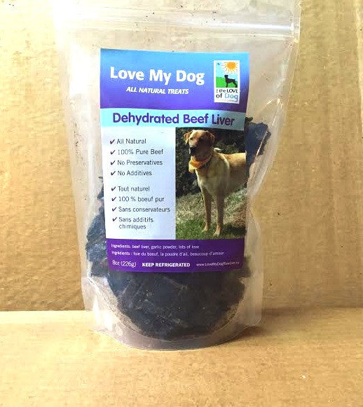Love My Dog Raw Diet - Dehydrated Beef Liver With Garlic 1lb