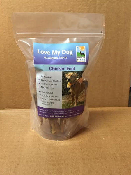 Love My Dog Raw Diet - Dehydrated Chicken Feet With Garlic – 1/2lb
