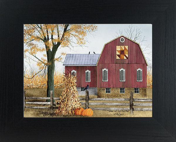 Autumn Leaf Quilt Block Barn by artist Billy Jacobs BJ1023 - Summer Snow Art