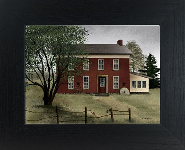Old Brick Farmhouse by artist Billy Jacobs BJ221 - Summer Snow Art