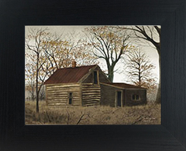 The Old Log Home by artist Billy Jacobs BJ426 - Summer Snow Art
