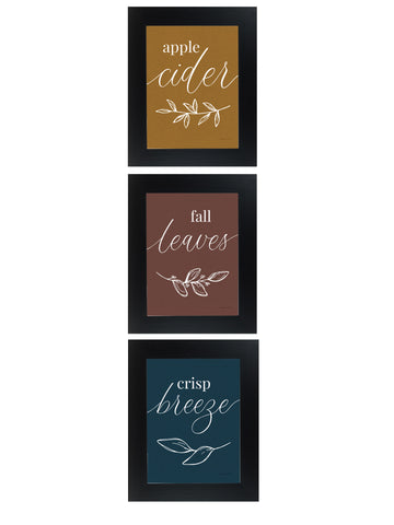 Apple Cider Fall Leaves Crisp Breeze Fall Set of 3 Pictures SET164