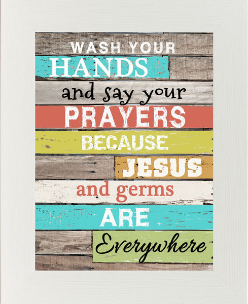 Wash Your Hands Say Your Prayers Bright GLITTERED SS9825 - Summer Snow Art