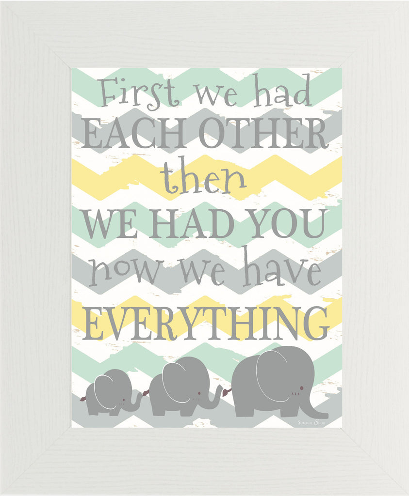 First We had Each Other yellow teal elephants SS9956