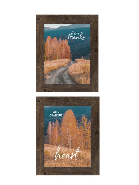Give Thanks With a Grateful Heart Set of 2 Pictures SET165