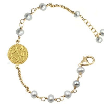 PEACE, LOVE & HAPPINESS PEARL BRACELET, assorted pearls
