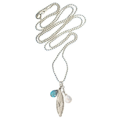 S&CTESTA Amor Vincit Omnia Long DOVE NECKLACE with Briolette Stone Drops - NECKLACES - SOPHIA & CHLOE - S&CTESTA
