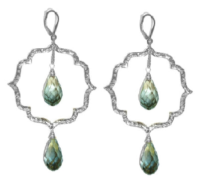 MOROCCAN KISS EARRINGS ~ mint crystal in gold or silver