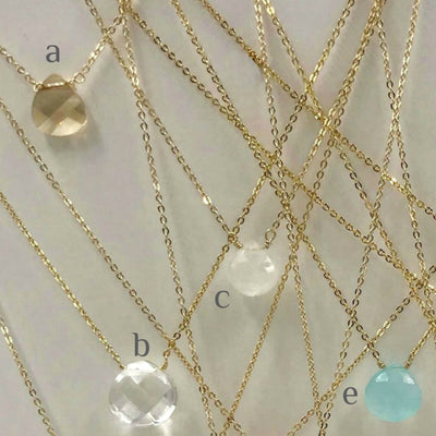 BELLA DAINTY STONE NECKLACE, gold or silver