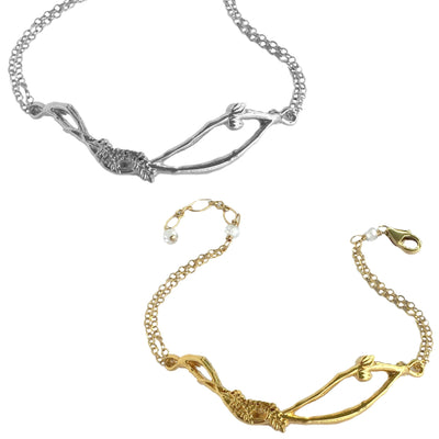 HOME NEST BRACELET ON DAINTY CHAIN ~ Gold or Silver