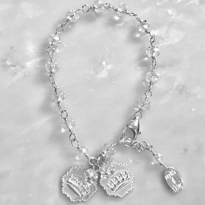 KEEP CALM AND CARRY ON CRYSTAL BRACELETS WITH DOUBLE CHARMS