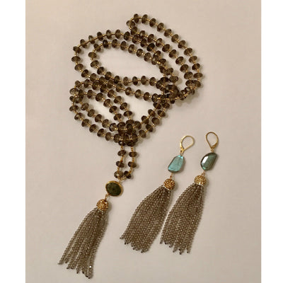 ARIA TASSEL EARRINGS in SMOKEY CRYSTALS & LABRADORITE
