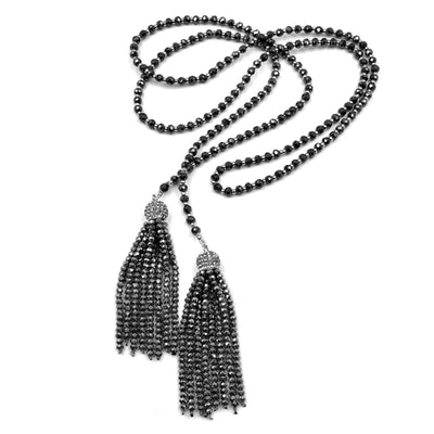 DECADENT ARIA LONG TASSEL LARIAT, assorted crystals in gold or silver