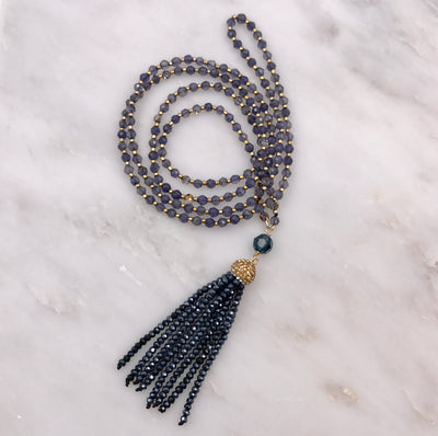 ARIA LONG TASSEL NECKLACE IN BLUE IOLITE & MIDNIGHT CRYSTALS